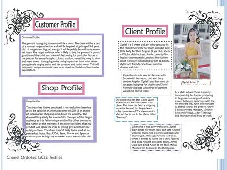 gcse textiles coursework client profile This is a good design for a cover because it creates nice white spaceeven though there is a lot of empty space not being used, this can be good it increases the designs simplicity it makes it less busy on this design,you clearly know where to look first, and it's focused on one specific design element visa mer customer.